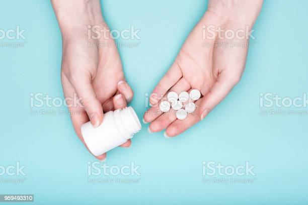 Close up of female hands holding medication bottle and white pills picture id959493310?b=1&k=6&m=959493310&s=612x612&h=fzw2w xtc7gtzxvck0a qiggxvwvxsgjxduit0rnrk8=