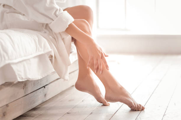 Close up of female legs stock photo