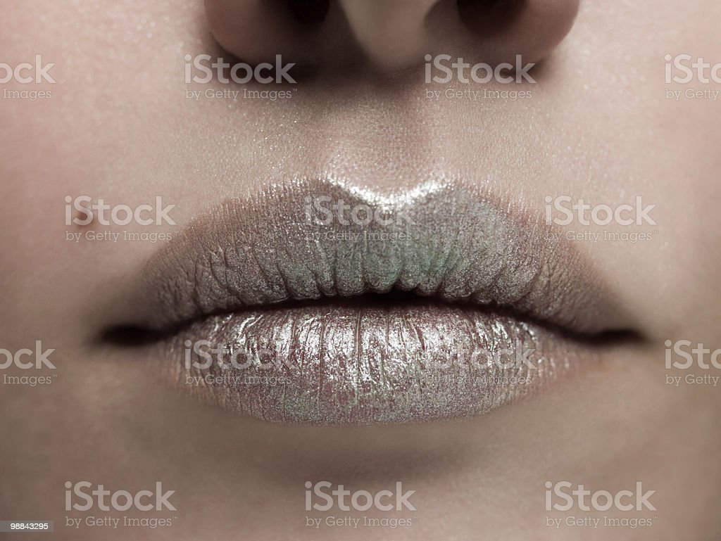 Close-up della bocca femmina con rossetto argento foto stock royalty-free