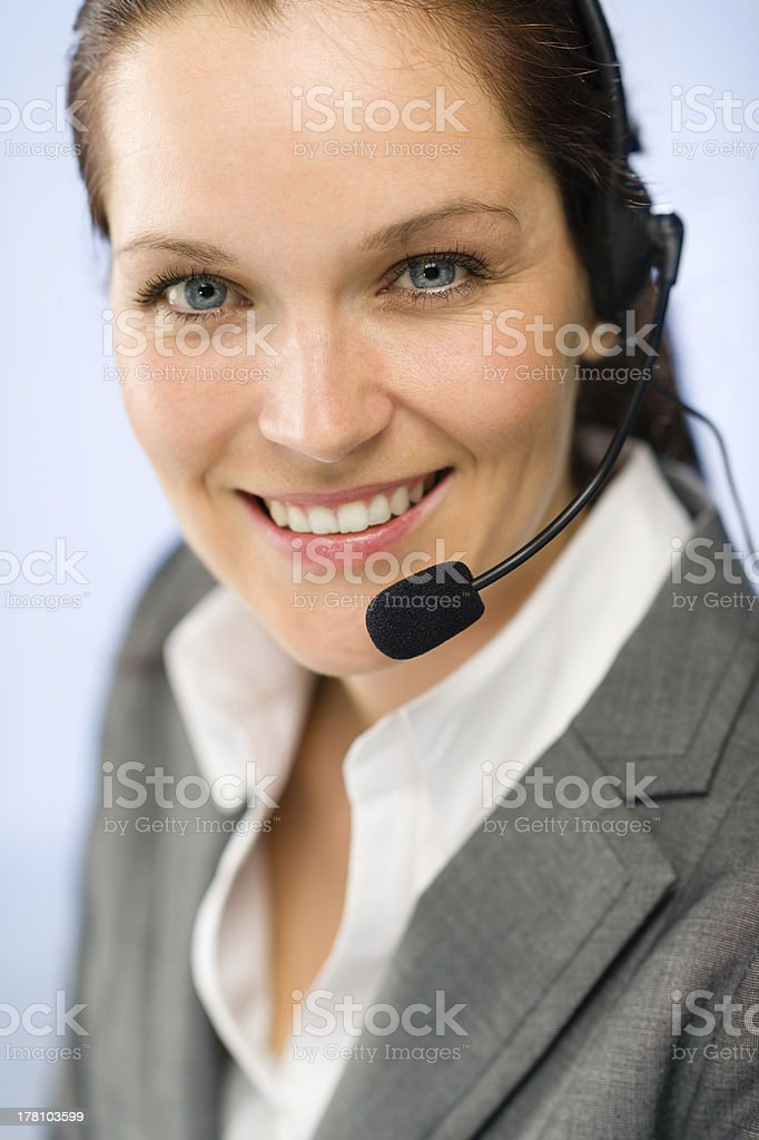 Close up of female support phone operator royalty-free stock photo