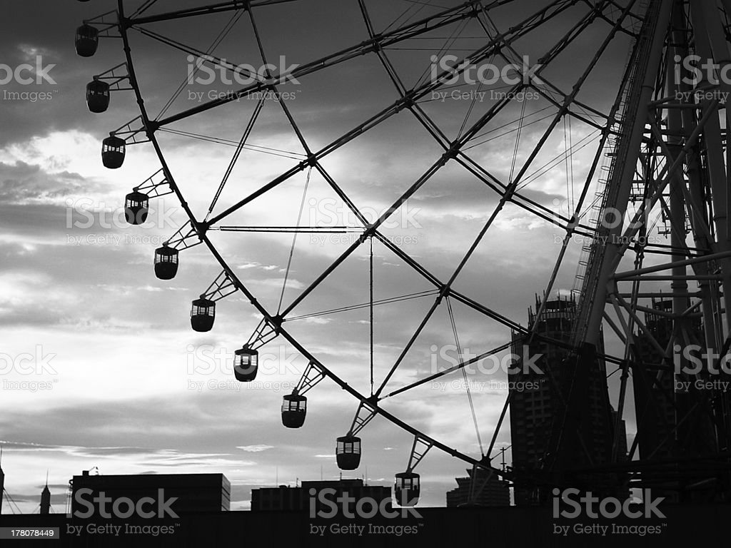 close up of Ferris wheel in black and white color royalty-free stock photo