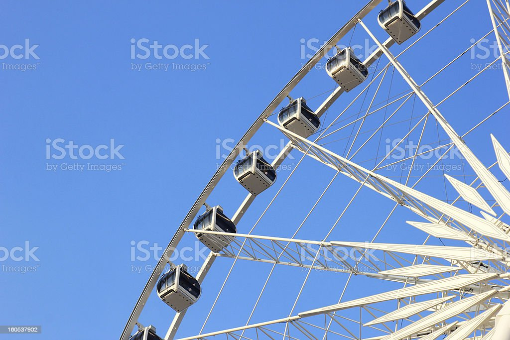Close up of ferris wheel with blue sky royalty-free stock photo