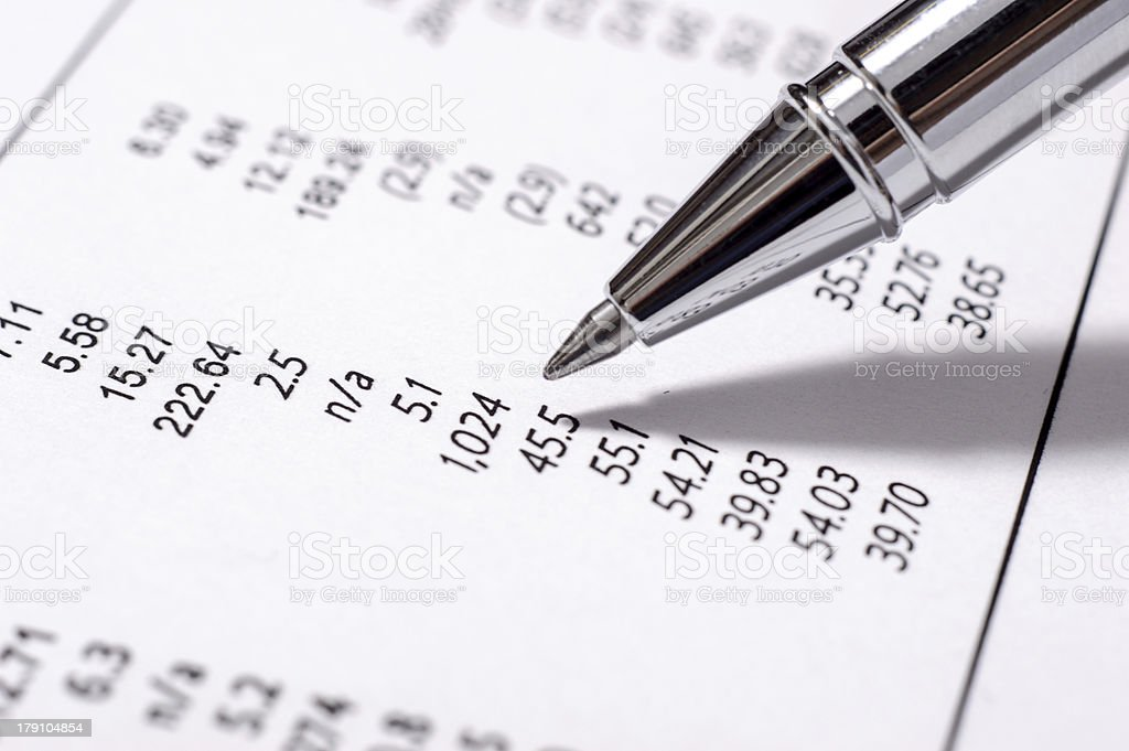 Close up of financial business report with performance financial figures stock photo