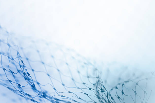 Close up of fine blue netting fading into white background Closeup of netting fishing net stock pictures, royalty-free photos & images