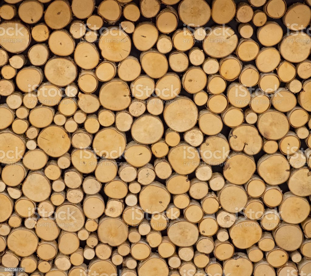 Close up of finely cut logs stock photo