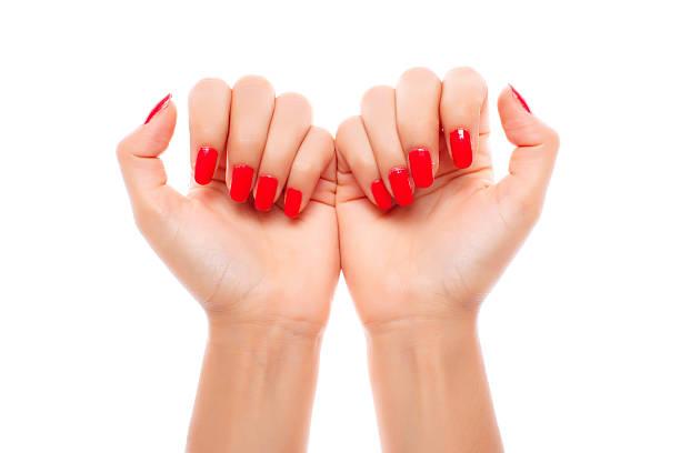 red fingernägel - nägel lackieren stock-fotos und bilder