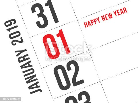 945046208 istock photo Close up of first day of the year 2019 on diary calendar. 1077138402