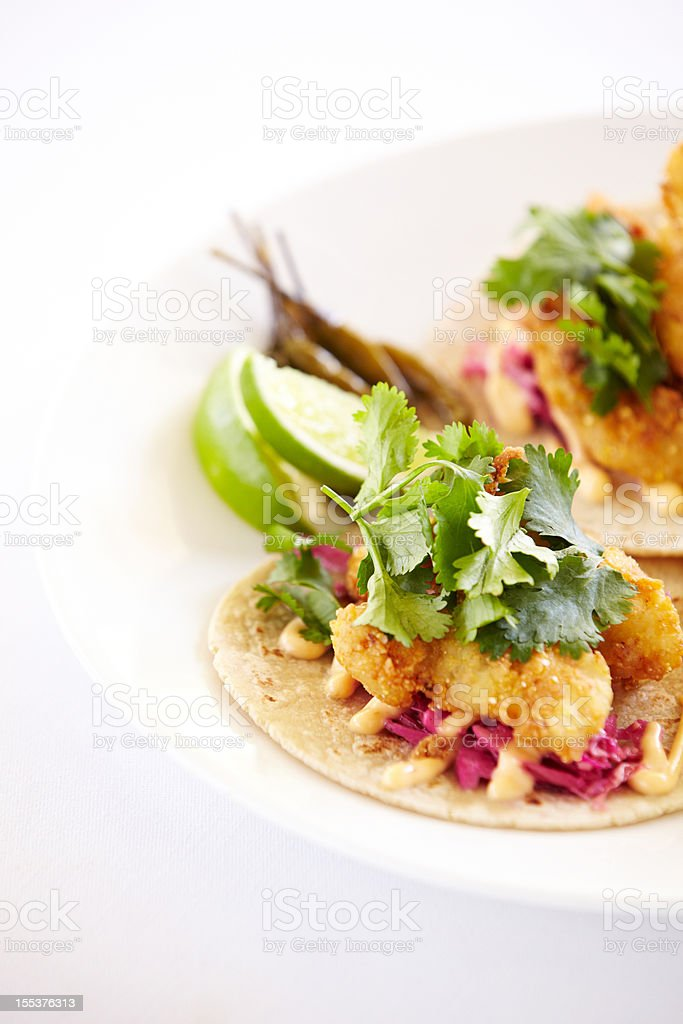 Close up of fish tacos on a plate stock photo