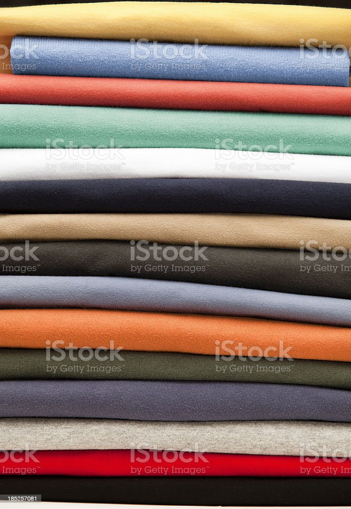 Cotton clothing stacked in a pile