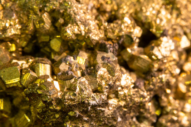 Close Up of Fools Gold Pyrite Rock Crystal stock photo