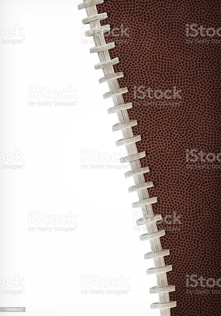 Close up of football stitching against white background stock photo