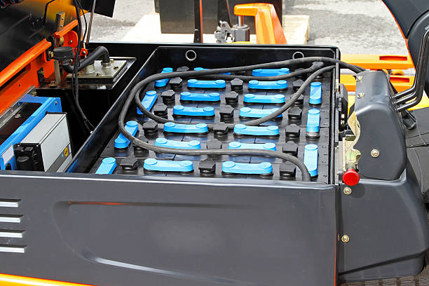 A close up of forklift batteries stock photo