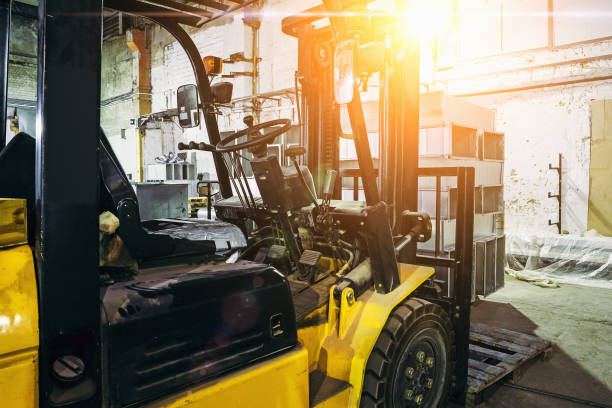 Close up of Forklift Truck inside warehouse or factory or logistics company stock photo