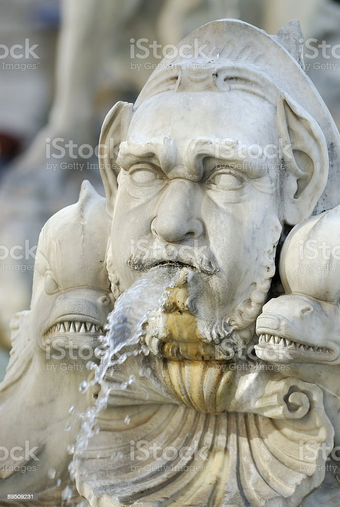 Close up of fountain in Piazza Navona, Rome royalty-free stock photo