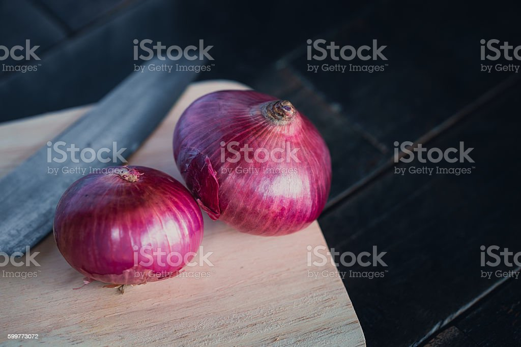 Close Up of French Red Shallots, Home Made Food Ingredient. stock photo