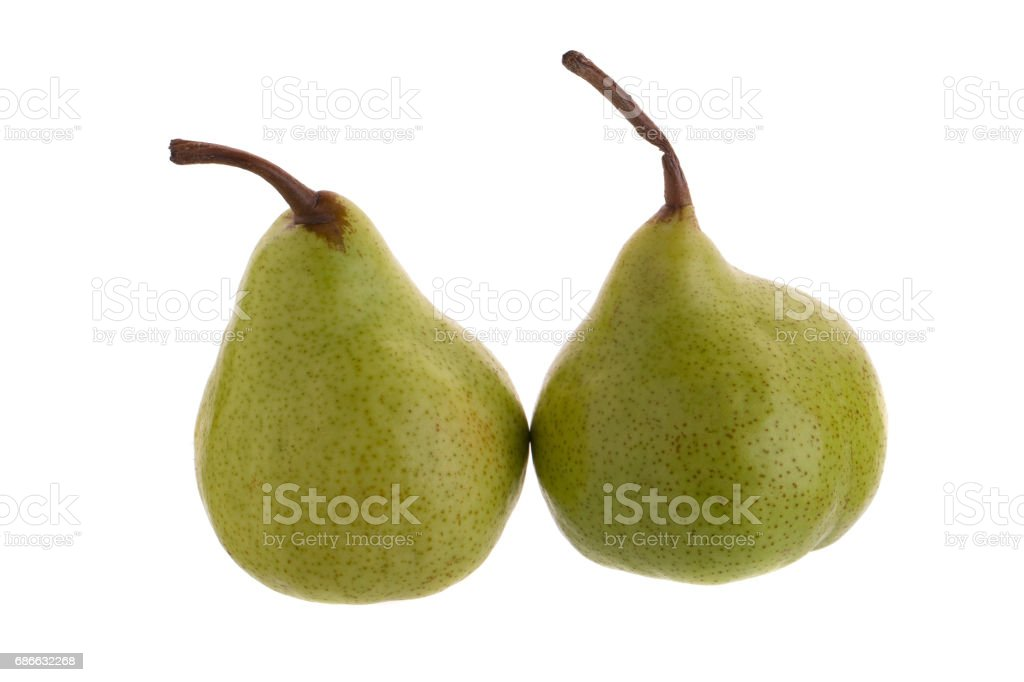 Close up of fresh green pears over white background royalty-free stock photo