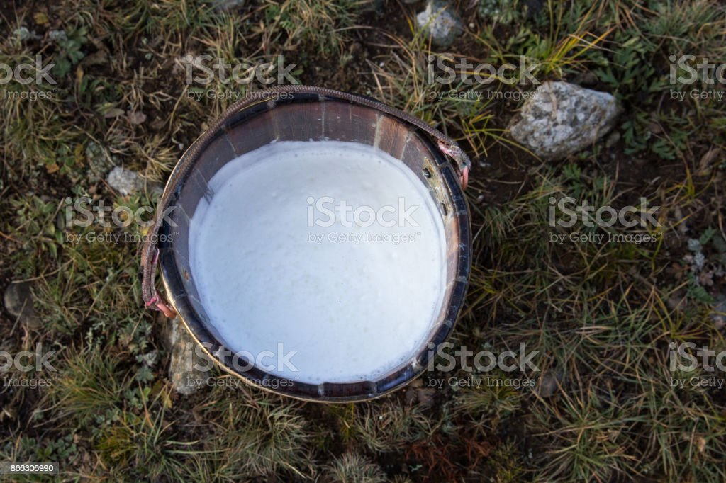 Close up of fresh milk in a wooden bucket. stock photo