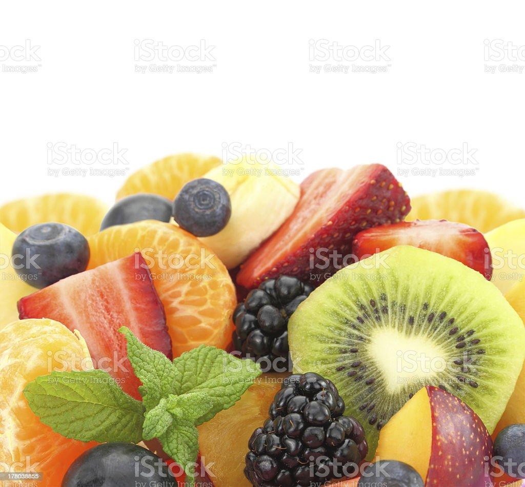 Close up of fresh mixed fruit salad stock photo