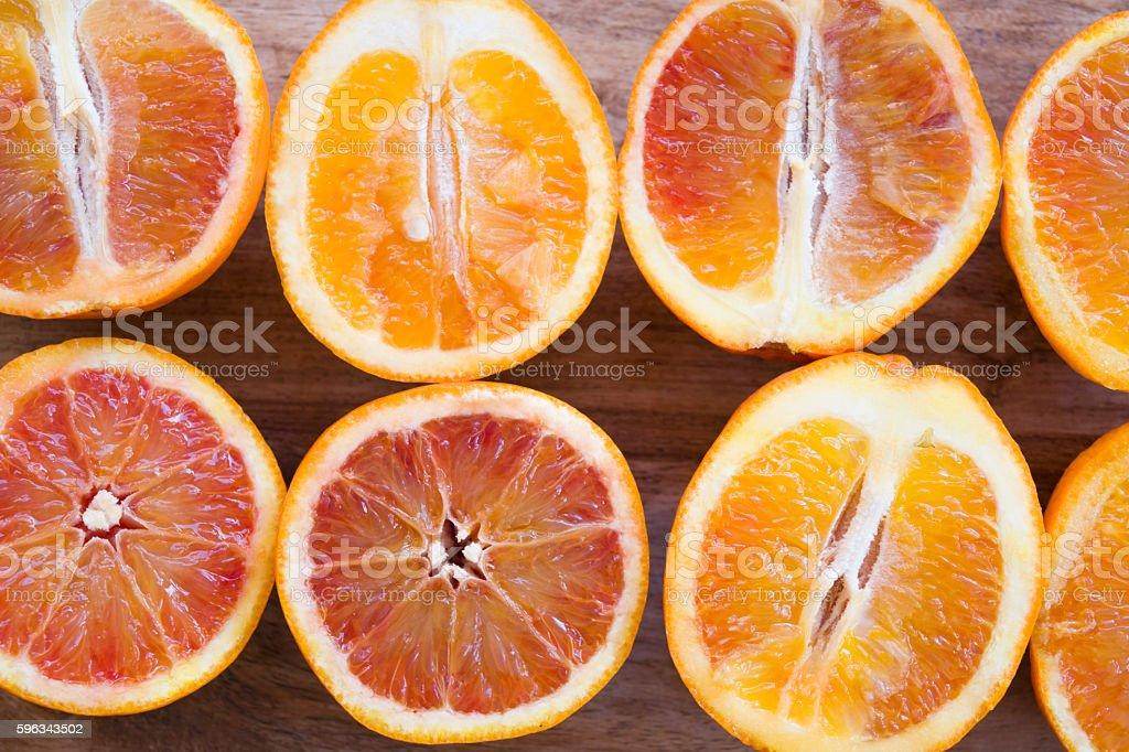 close up of fresh oranges cut half royalty-free stock photo