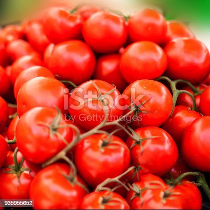 istock Close up of fresh organic tomatos at outdoor farmers  market. Healthy local food market concept. Variety of tomatoes in a box