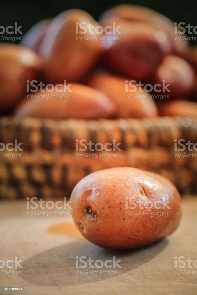 Close up of fresh potatoes stock photo