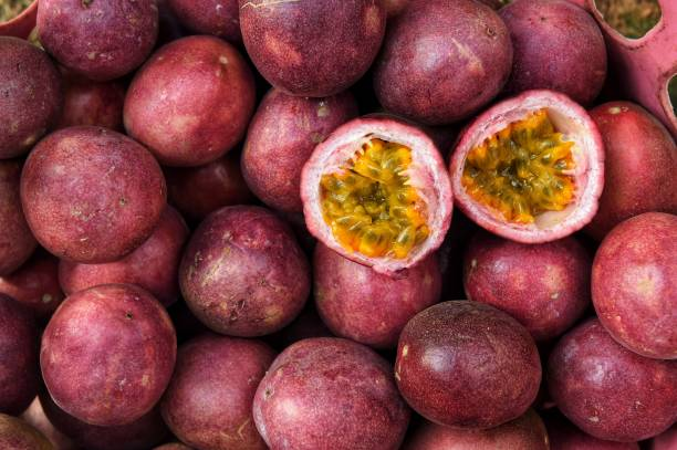 close up of fresh purple passion fruits - passiflora foto e immagini stock