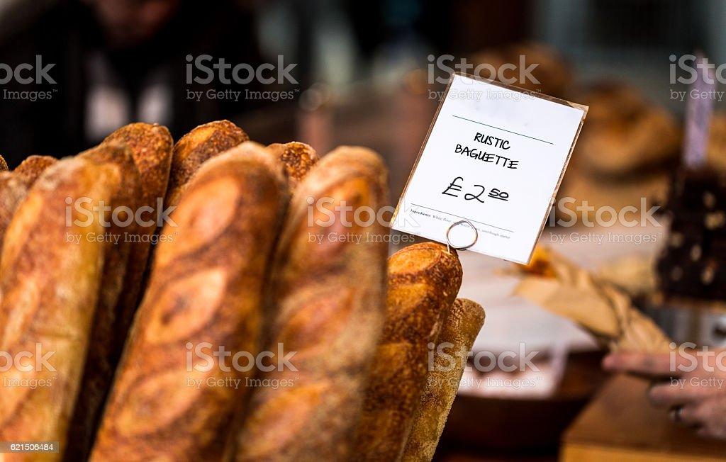 Close up of freshly baked baguettes, Borough Market, London, UK Lizenzfreies stock-foto