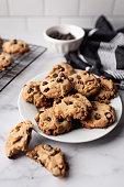 Chocolate chip cookies macro shot