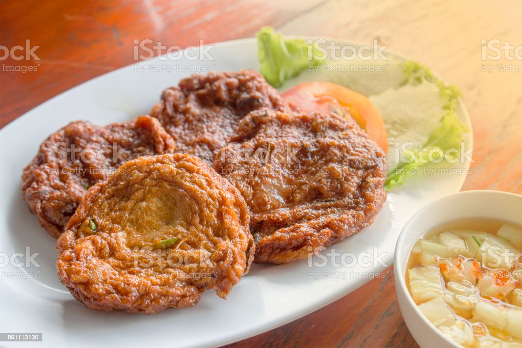 Close up of fried fish cakes ,Thai Food stock photo