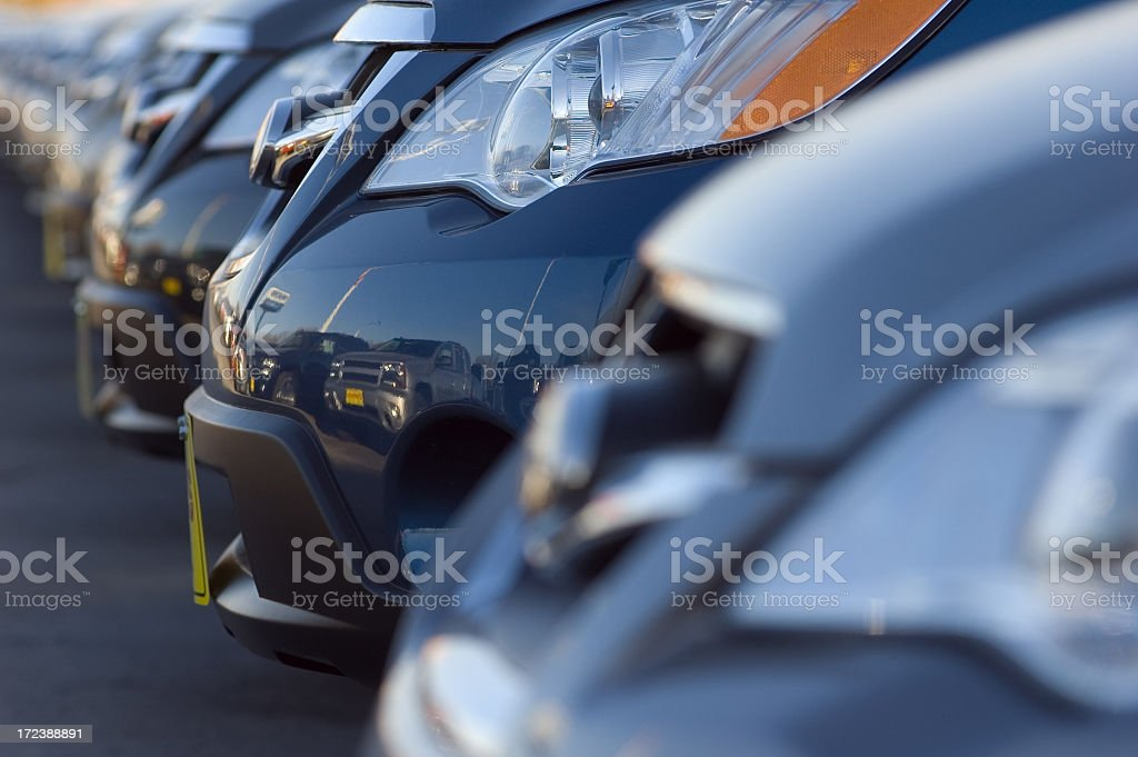 Close up of front bumpers of new cars stock photo