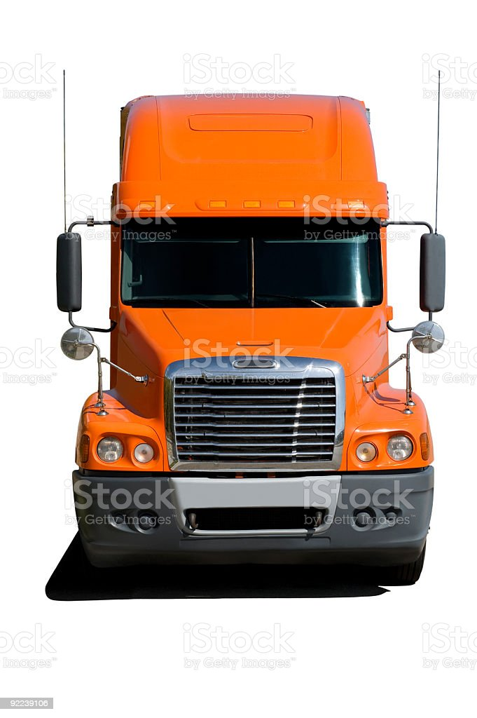 Close up of front of orange truck stock photo