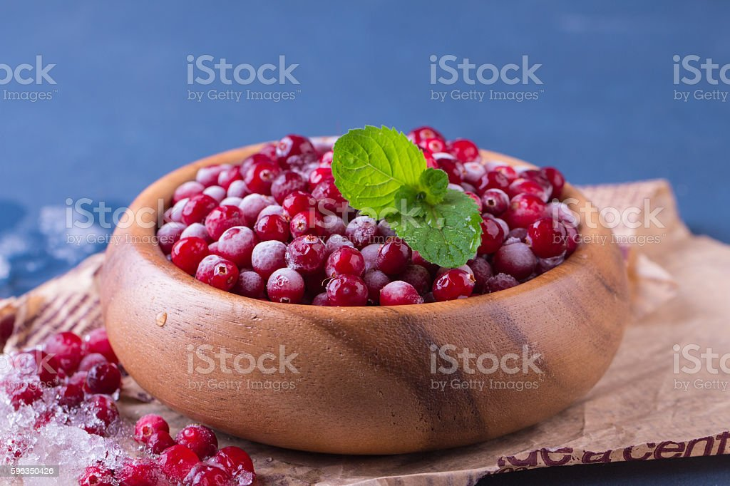 Close up of frozen cranberries Lizenzfreies stock-foto