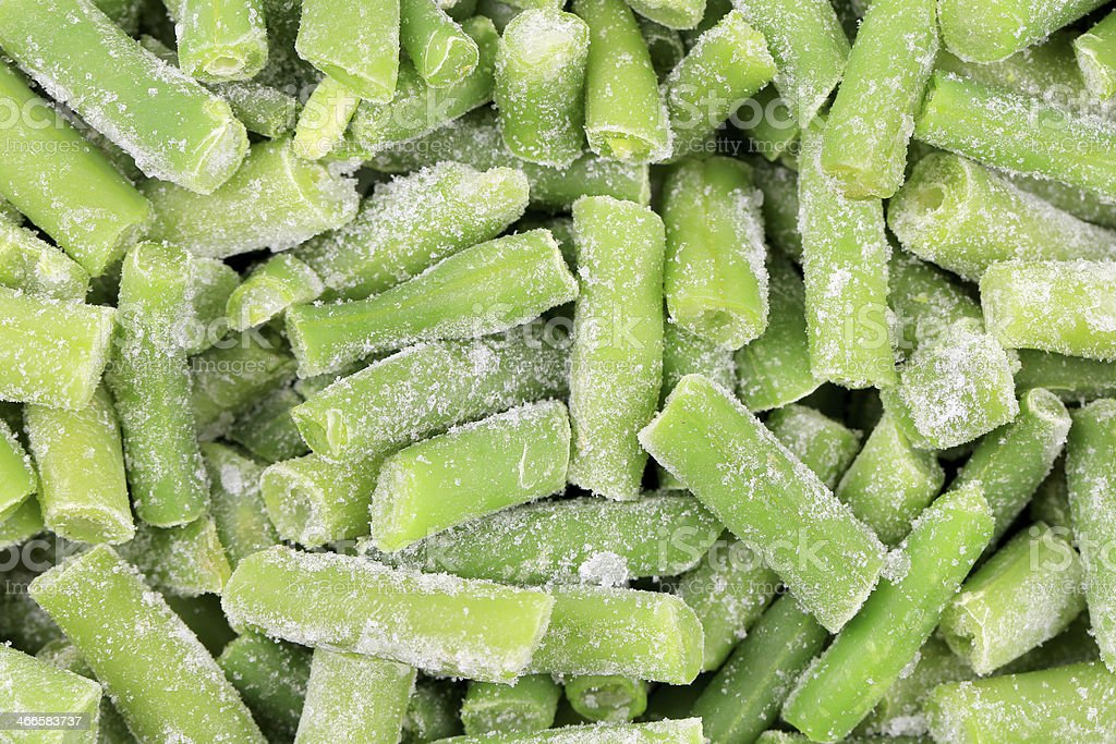 Close up of frozen green beans. stock photo