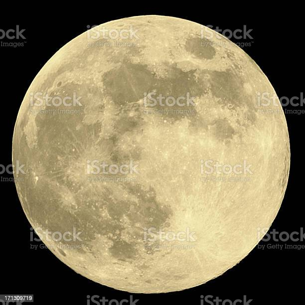 Photo of Close up of full moon on black background