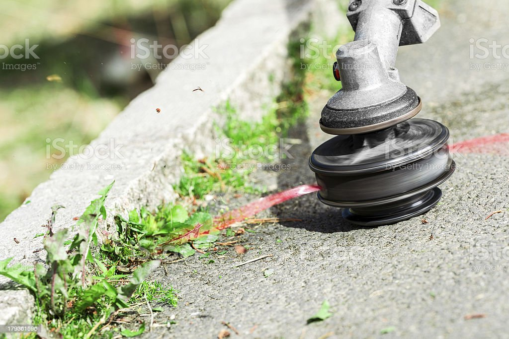 Close up of garden strimmer cutting weeds royalty-free stock photo