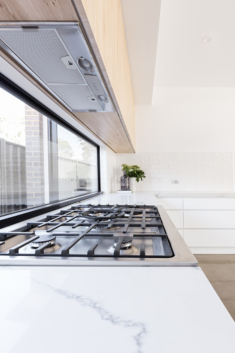Close up of gas cooktop in a new kitchen