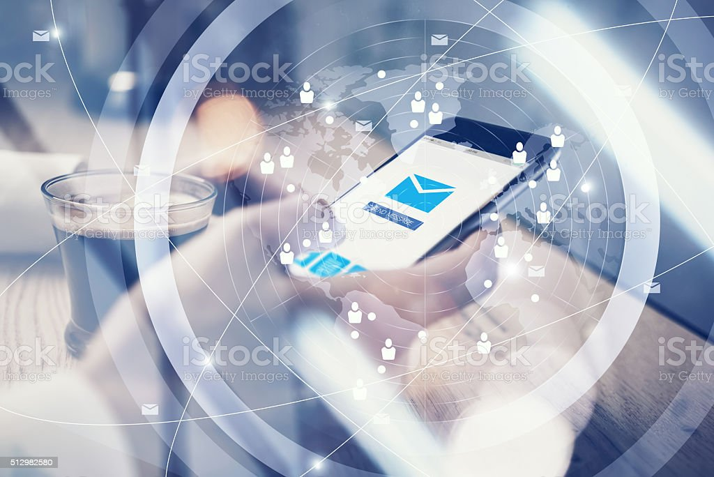 Close up of generic design smart phone holding in female stock photo