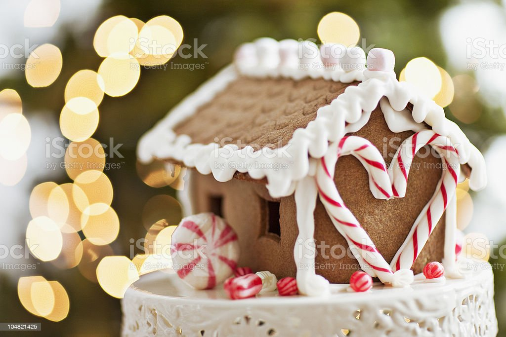 Close up of gingerbread house stock photo