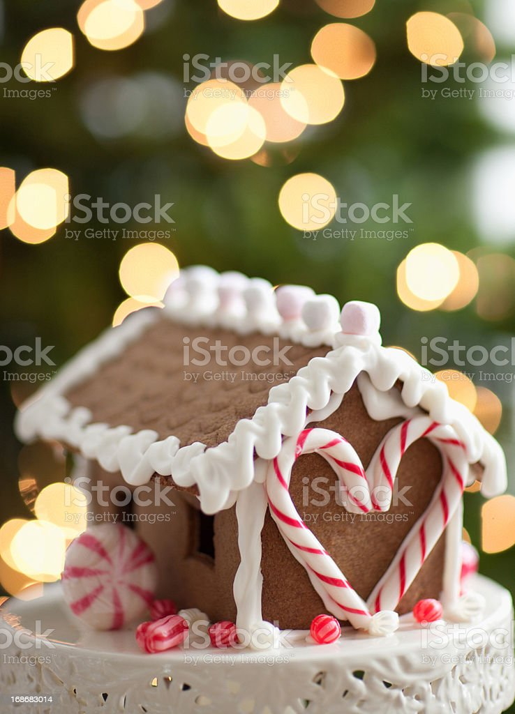 Close up of gingerbread house royalty-free stock photo