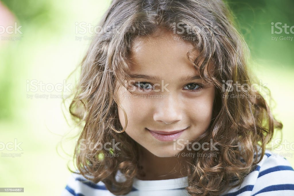 Close up of girl smiling stock photo