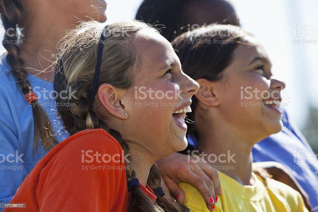 Close up of girls having fun stock photo