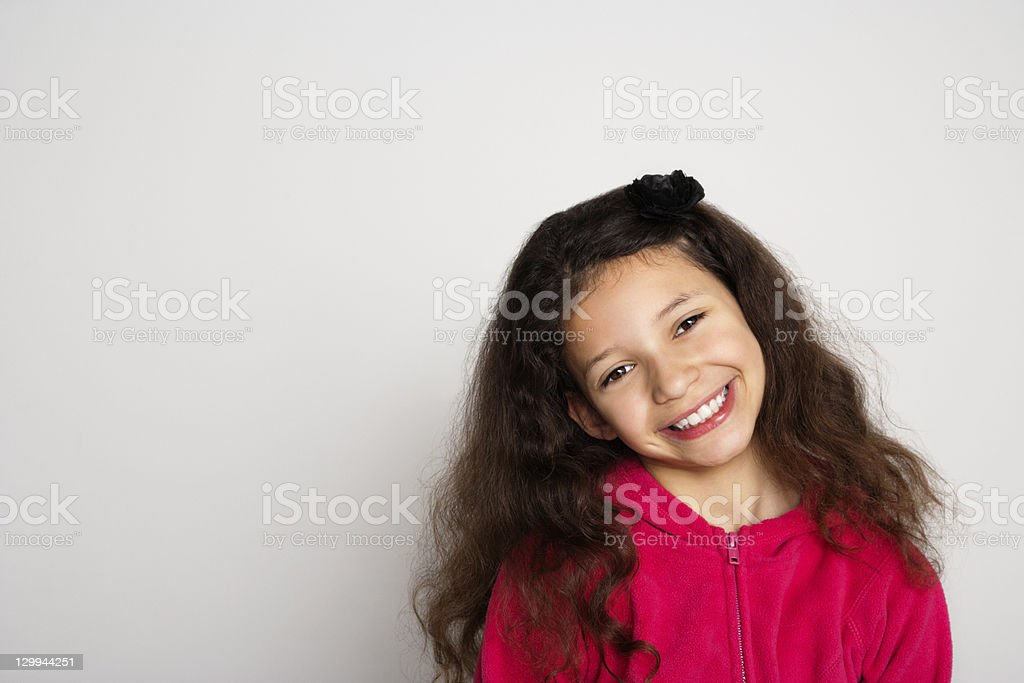 Close up of girl's smiling face stock photo