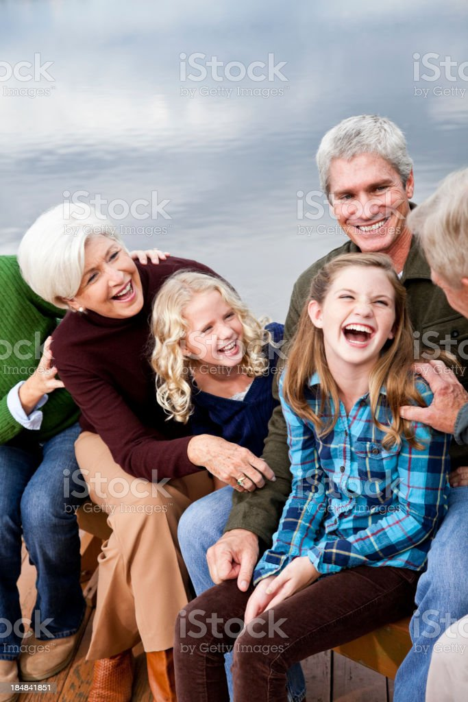 Close up of girls with father and grandparents royalty-free stock photo