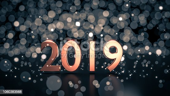 505891566istockphoto Close up of gold number 2019 on reflective black ground with ice blue bokeh background. 1060383568