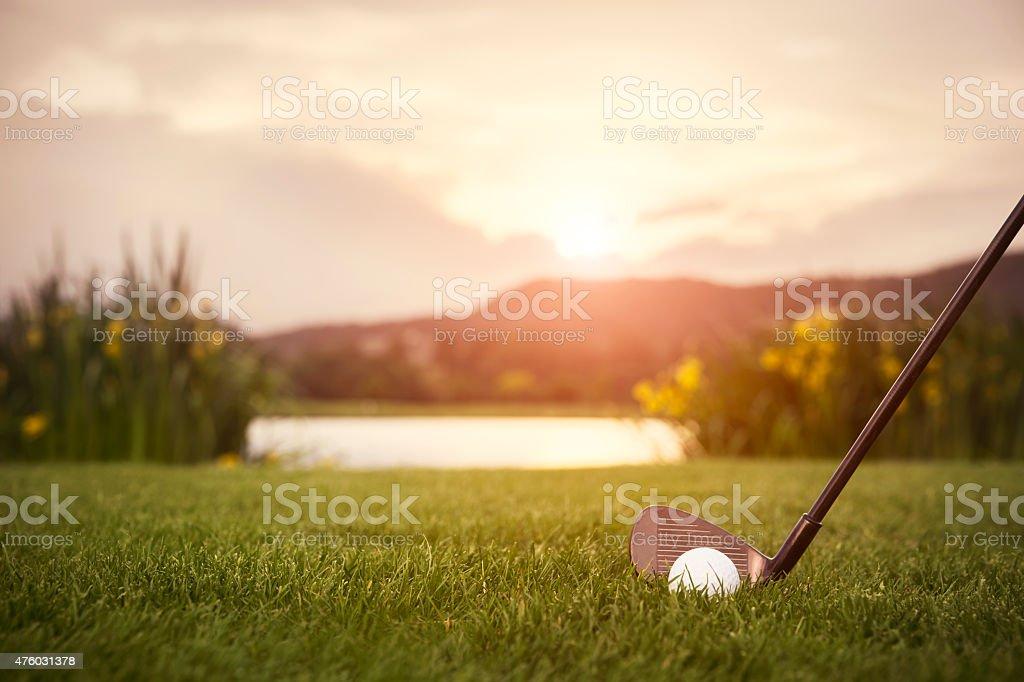 Gros plan de golf club, au coucher du soleil. - Photo