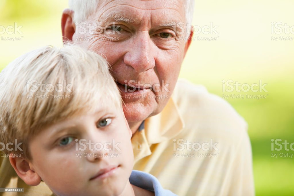 Close up of grandfather and grandson stock photo