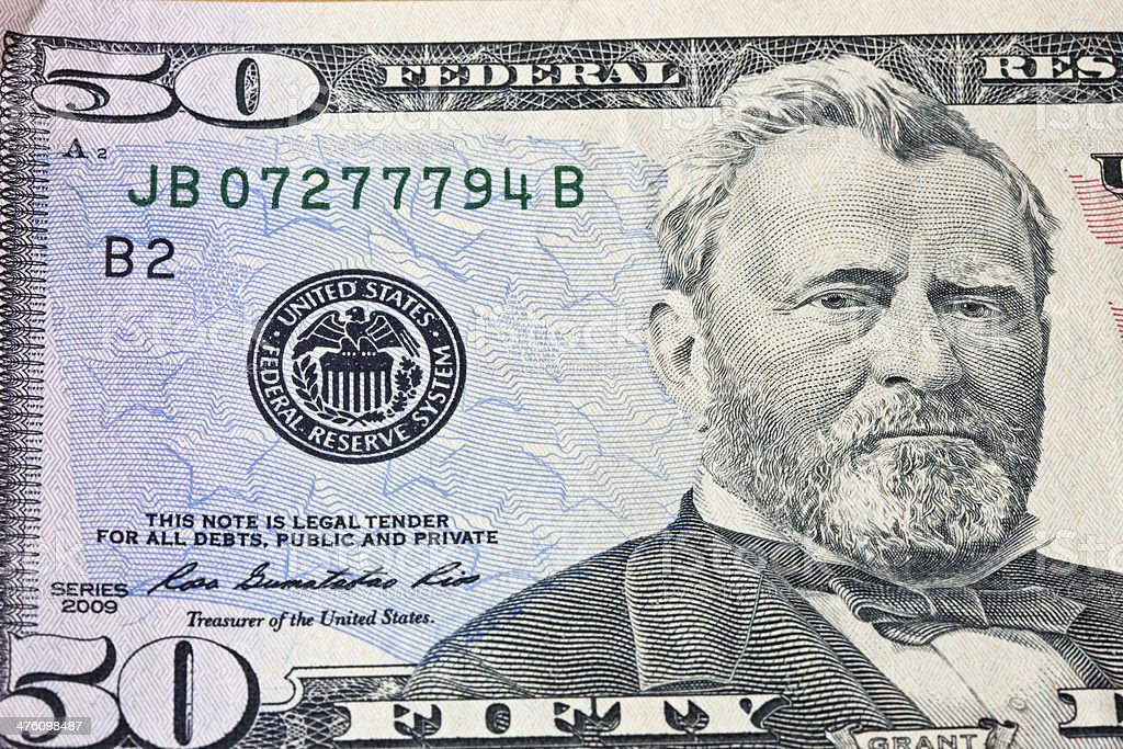 Close Up of Grant on Fifty Dollar Bill stock photo