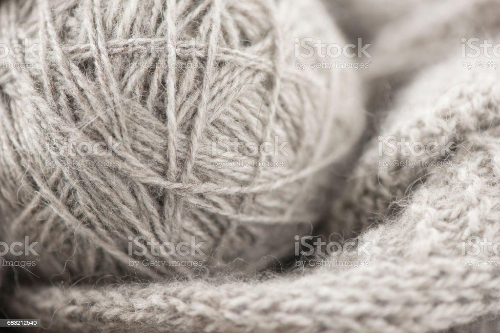 Close up of gray ball of yarn foto de stock royalty-free