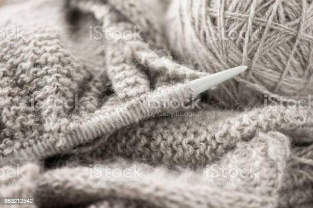 Close up of gray wool and knitting needles picture id683212542?b=1&k=6&m=683212542&s=612x612&h=ignbi sdg3ribdnrt nizzzpzhewcbuse2uwif6qi2s=