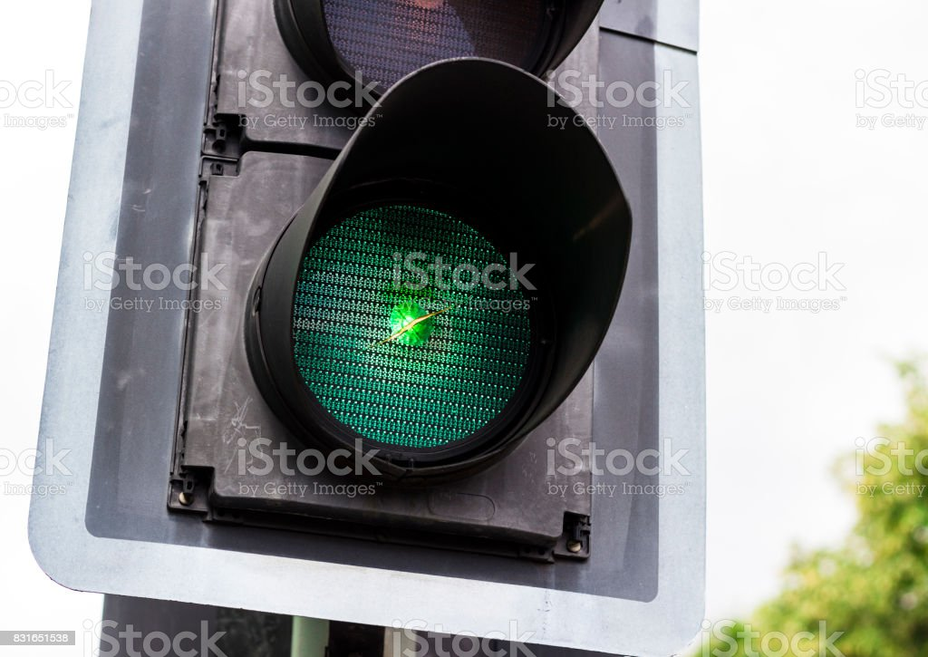 Close up of green light on a traffic light stock photo